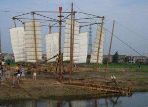 Antico mulino cinese per il sollevamento dell'acqua
