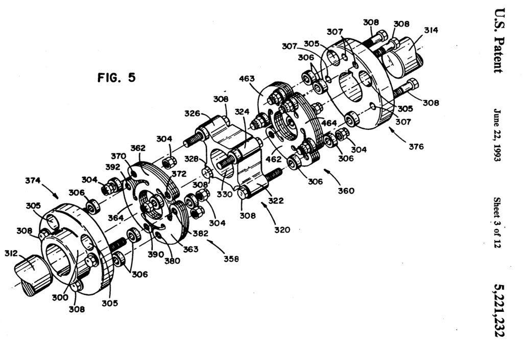 Giunto flessibile a dischi, brevetto US005221232A